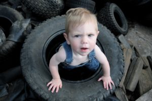 Baby in tire